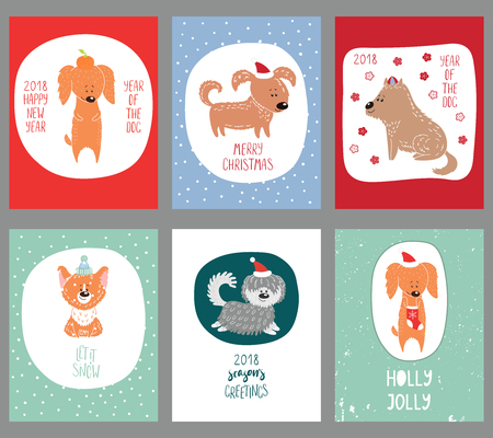 Set of hand drawn winter holidays greeting cards templates with cute funny cartoon dogs in hats, typography. Vector illustration. Design concept for children, Christmas, New Year.