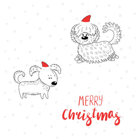 Hand drawn Christmas greeting card with cute funny cartoon dogs in hats, typography. Isolated objects on white background. Vector illustration. Design concept for children, winter holidays. Illustration