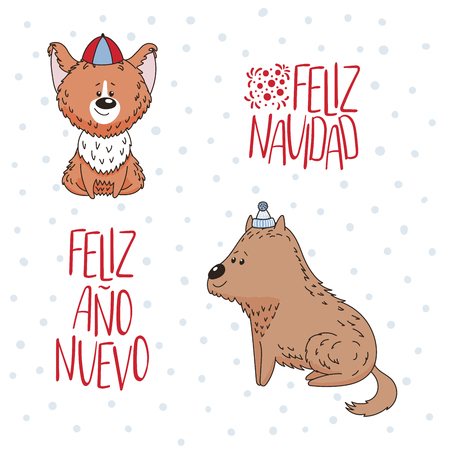 Hand drawn greeting card with cute dogs, Spanish text Feliz Navidad, Ano Nuevo (Happy Christmas, New Year). Isolated objects on white background. Vector illustration. Design concept winter holidays.