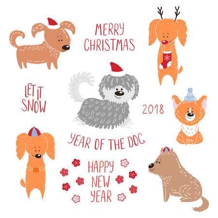 Hand drawn winter holidays greeting card with cute funny cartoon dogs, typography. Isolated objects on white background. Vector illustration. Design concept for children, Christmas, New Year. Vettoriali