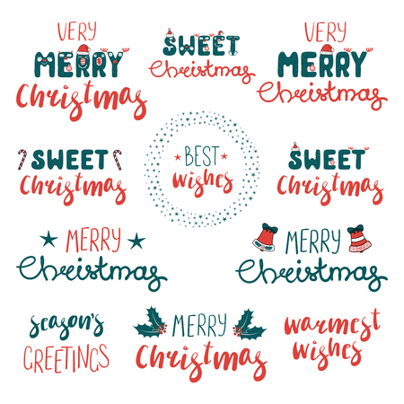 Collection of different Christmas quotes, typography, with hand drawn design elements Isolated objects on white background. Vector illustration. Design concept winter holidays