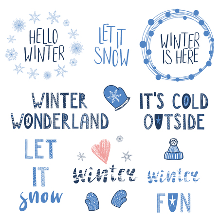 Collection of different winter, snow quotes, typographic elements, with hand drawn mittens, snowflakes. Isolated objects on white background. Vector illustration. Design concept season change.