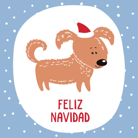 Hand drawn greeting card with cute funny cartoon dog in a hat, Spanish text Feliz Navidad (Happy Christmas). Isolated objects on white background. Vector illustration. Design concept winter holidays.