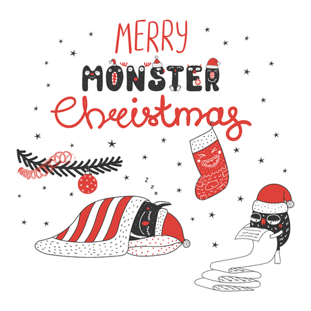 Hand drawn greeting card with cute monsters, sleeping under Christmas tree, reading a list, stocking. Isolated objects on white background. Design concept kids, winter holidays. Vector illustration. Vettoriali