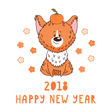 Hand drawn New Year greeting card with cute funny cartoon dog with a tangerine, typography. Isolated objects on white background. Vector illustration. Design concept for children, winter holidays.