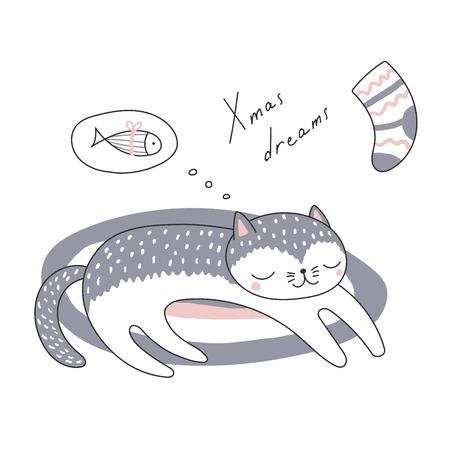 Hand drawn Christmas card with cute funny cartoon cat sleeping on a rug.