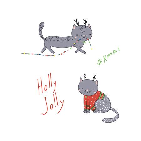 Cartolina d'auguri di Natale disegnata a mano con gatti simpatico cartone animato divertente con corna di cervo, maglione, tipografia. Oggetti isolati su sfondo bianco. Illustrazione vettoriale Concetto di design per bambini, vacanze invernali. Archivio Fotografico - 90953983