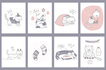 Set of hand drawn greeting cards templates with cute funny cartoon cats in hats. Vettoriali