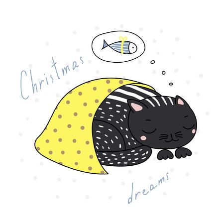 Hand drawn Christmas card with cute funny cartoon cat sleeping under blanket. Vettoriali