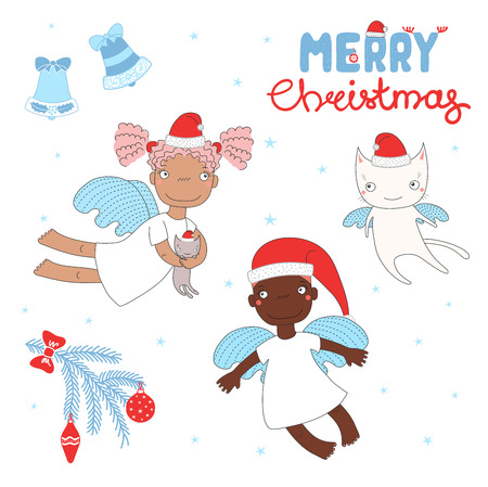 Hand drawn Christmas greeting card with cute cartoon angel girls, cat, in Santa Claus hats. Isolated objects on white background. Vector illustration. Design concept for children, winter holidays. 일러스트