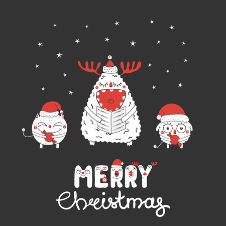Hand drawn Christmas greeting card with cute funny monsters, singing carols, holding candy. Isolated objects on white background. Design concept for children, winter holidays. Vector illustration.