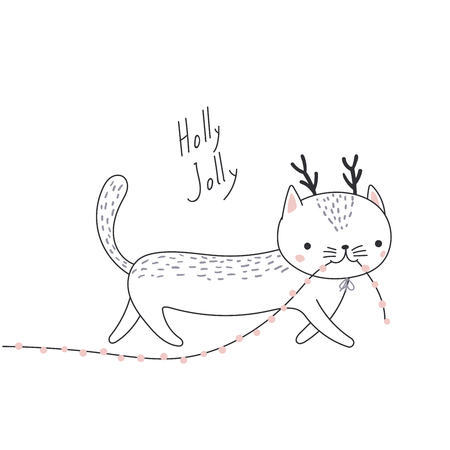 Hand drawn card with cute funny cat with deer antlers, carrying Christmas lights garland in its mouth. Isolated objects on white background. Vector illustration. Design concept kids, winter holidays. Illustration