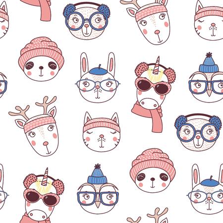 따뜻한 모자, 흰색 배경에 머플러 귀여운 동물 얼굴을 손으로 그린 원활한 벡터 패턴. 크리스마스, 겨울 방학, 아이 섬유 인쇄, 벽지, 포장지에 대 한 디 일러스트