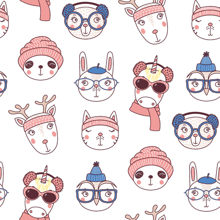 Hand drawn seamless vector pattern with cute animal faces in warm hats, mufflers, on a white background. Design concept for Christmas, winter holidays, kids textile print, wallpaper, wrapping paper.