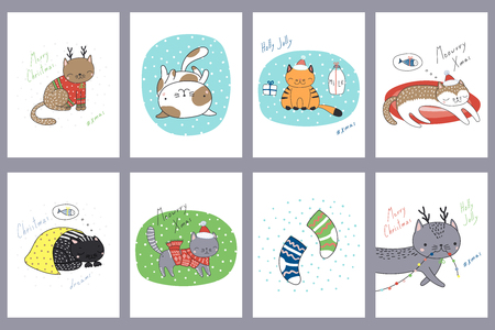Set of hand drawn greeting cards templates with cute funny cartoon cats in hats, with deer antlers, Christmas ornaments, typography. Vector illustration. Design concept for children, winter holidays.