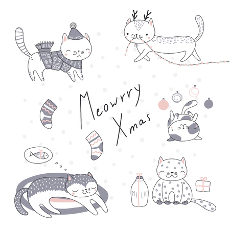 Collection of hand drawn cute funny cartoon cats in hats, with presents, typography. Isolated objects on white background. Vector illustration. Design concept for children, winter holidays, Christmas. Vettoriali