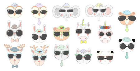 Big set of hand drawn cute funny portraits of cat, bear, panda, bunny, reindeer, unicorn, owl, elephant in sunglasses. Isolated objects on white background. Vector illustration. Design concept kids Illustration