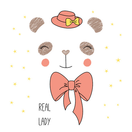 Hand drawn vector illustration of a cute funny panda face in a hat, with a bow, text Real lady. Isolated objects on white background with stars. Design concept for children. Illustration
