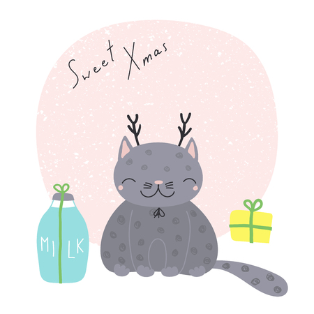 Hand drawn Christmas greeting card with cute funny cartoon cat with deer antlers, presents, typography. Isolated objects on white background. Vector illustration. Design concept kids, winter holidays. 向量圖像