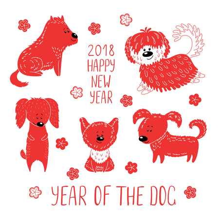 Hand drawn New Year greeting card with cute funny cartoon dogs, typography. Isolated objects on white background. Vector illustration. Design concept for children, winter holidays.