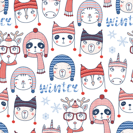 Hand drawn seamless vector pattern with cute animal faces in warm hats
