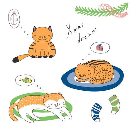寝ている猫、かわいい面白い漫画と手描き下ろしクリスマス カード引用、魚、ミルク、贈り物の夢を見てします。白い背景の上の孤立したオブジェ  イラスト・ベクター素材