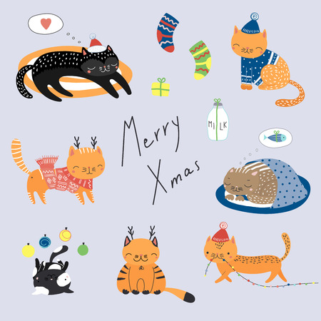 Collection of hand drawn cute funny cartoon cats in hats, with deer antlers, presents, typography. Isolated flat objects. Vector illustration. Design concept for children, winter holidays, Christmas.