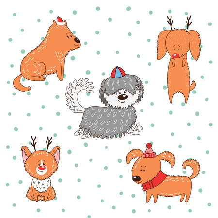 Hand drawn winter holidays greeting card with cute funny cartoon dogs in hats. Isolated objects on white background. Vector illustration. Design concept for children, Christmas, New Year. Illustration