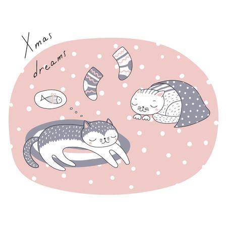 寝ている猫、かわいい面白い漫画と手描き下ろしクリスマス カード引用、ストッキング、魚の夢します。白い背景の上の孤立したオブジェクト。ベ