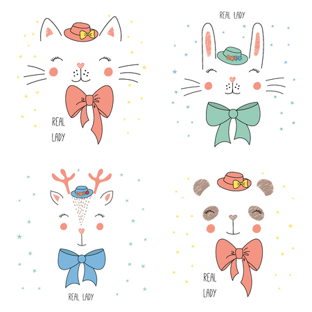 Set of hand drawn vector portraits of cute funny cat, panda, bunny, reindeer in hats, with bows, text Real lady. Isolated objects on white background with stars. Design concept for children. Illustration