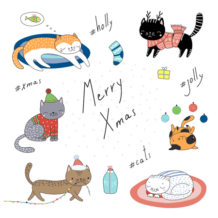 Collection of hand drawn cute funny cartoon cats in hats, with presents, typography. Isolated objects on white background. Vector illustration. Design concept for children, winter holidays, Christmas. Vectores