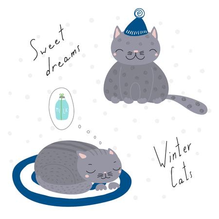 手描き下ろしクリスマス カードかわいい面白い漫画猫、帽子と引用、ギフト、牛乳の夢します。白い背景の上の孤立したオブジェクト。ベクトルの