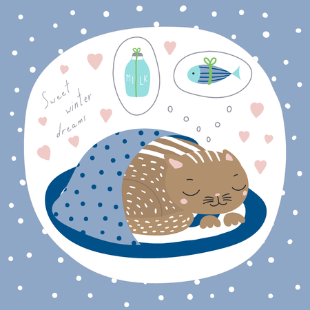 Hand drawn Christmas card with cute funny cartoon cat sleeping on a rug, dreaming of fish, milk, text. Isolated objects on white background. Vector illustration. Design concept kids, winter holidays.