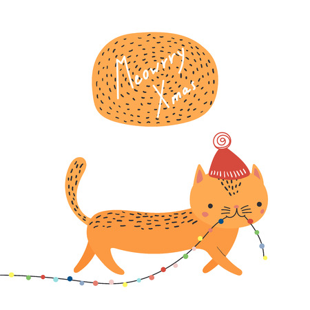 Hand drawn card with cute funny cat in a hat , carrying Christmas lights garland in its mouth, quote. Isolated objects on white background. Vector illustration. Design concept kids, winter holidays. Illustration