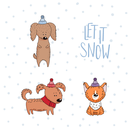 Hand drawn winter holidays greeting card with cute funny cartoon dogs, typography. Isolated objects on white background. Vector illustration. Design concept for children, Christmas, New Year. Иллюстрация