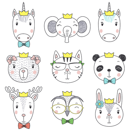 Set of hand drawn cute funny portraits of cat, bear, panda, bunny, reindeer, unicorn, owl, elephant in crowns.  イラスト・ベクター素材