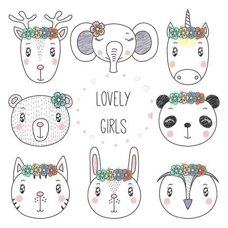 Set of hand drawn cute funny portraits of cat, bear, panda, bunny, reindeer, unicorn, owl, elephant girls with flowers. Isolated objects on white background. Vector illustration. Design concept kids. Illustration