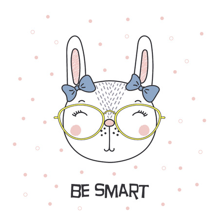 Hand drawn vector portrait of a cute funny cartoon bunny girl in glasses, with ribbon, text Be smart. Isolated objects on white background. Vector illustration. Design concept for children.
