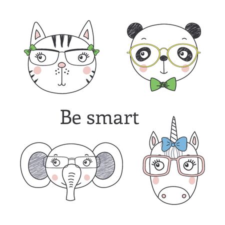 Set of hand drawn cute funny portraits of cat, panda, unicorn, elephant in glasses, with text Be smart.. Isolated objects on white background. Vector illustration. Design concept for kids.