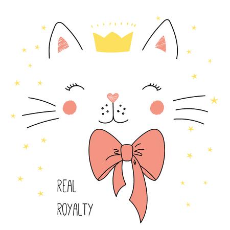Hand getekend vectorillustratie van een schattige grappige kat gezicht in een kroon, met een boog, tekst echte royalty. Geïsoleerde objecten op witte achtergrond met sterren. Ontwerpconcept voor kinderen.