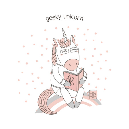 Hand drawn vector illustration of a cute funny cartoon unicorn sitting on a rainbow, reading a book with atomic physics symbol, text. Isolated objects. Design concept for children, geek culture. 版權商用圖片 - 91520009