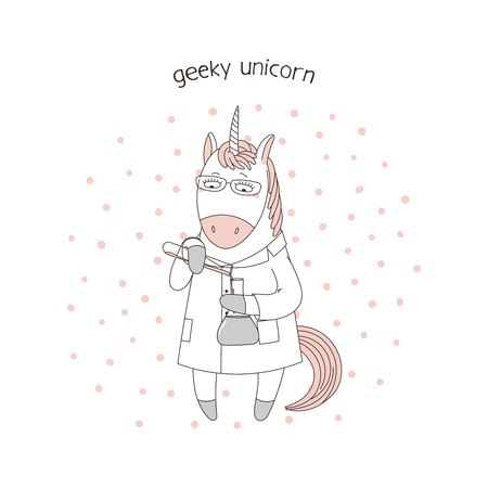 Hand drawn vector illustration of a cute funny cartoon unicorn in a lab coat, with chemical reagents, with text. Isolated objects. Design concept for children, geek culture. Illustration