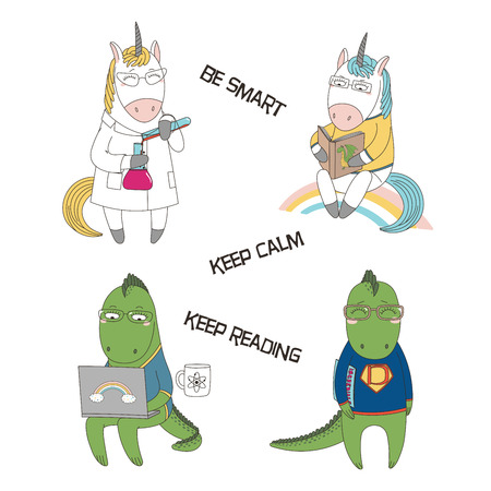 Set of hand drawn vector illustrations of cute funny cartoon dragons, unicorns in glasses, with book, comics, laptop, in lab coat, text. Isolated objects. Design concept for children, geek culture.