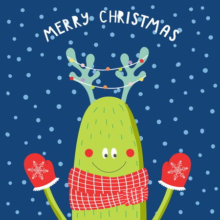 Hand drawn Christmas greeting card with cute funny monster with deer antlers.