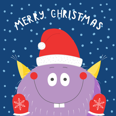 Hand drawn Christmas greeting card with cute funny monster in Santa Claus hat, mittens, in the snow, with typography. Ilustração