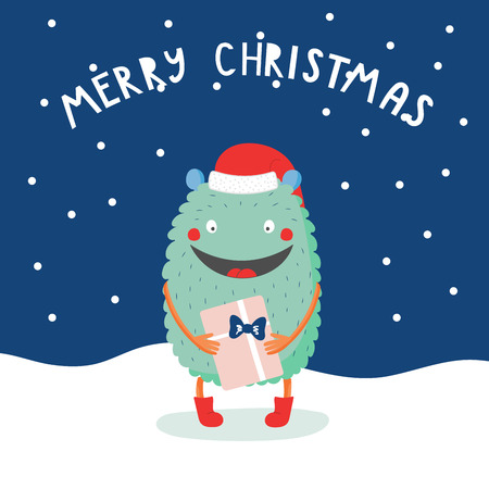 Hand drawn Christmas greeting card with cute funny monster in Santa hat, with a present, in the snow, with typography. Isolated objects. Design concept kids, winter holidays. Flat vector illustration