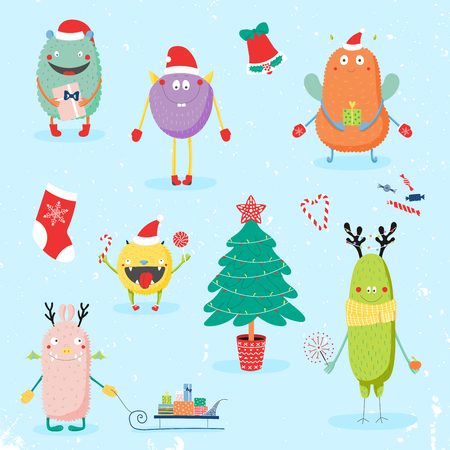 Collection of hand drawn cute funny cartoon monsters in Santa hats, with presents, Christmas tree. Isolated flat objects. Vector illustration. Design concept for children, winter holidays, New Year. Illustration