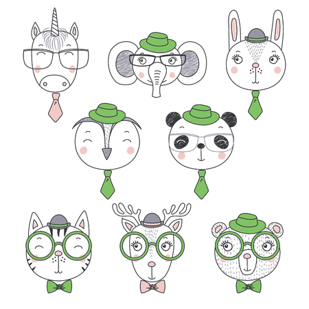 Set of hand drawn cute funny portraits of cat, bear, panda, bunny, deer, unicorn, owl, elephant boys in ties and hats. Isolated objects on white background. Vector illustration. Design concept kids.