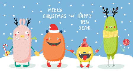 Hand drawn Christmas greeting card with cute funny monsters smiling and holding hands, under the snow, with typography. Isolated objects. Design concept kids, winter holidays. Vector illustration. Иллюстрация