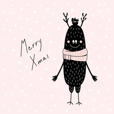 Hand drawn Christmas greeting card with cute funny monster with deer antlers in muffler, with quote. Isolated objects on pink background. Design concept kids, winter holidays. Vector illustration